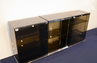 Cristal Art modular sideboar 'Crystal System' in tempered smoked crystal 1971