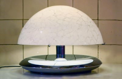 Mazzega-murano 70's table lamp glass and steel