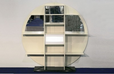 Round Furniture/Bookshelf in Lacquered Wood, 1970s