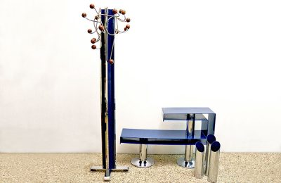 1970's entrance set in chromed and painted blue metal