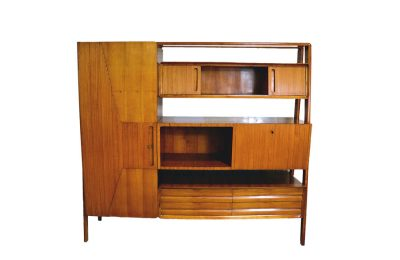 Mid-century living room furniture in ash wood with suspended parts
