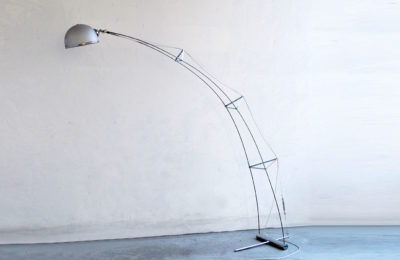 Arc lamp with trellis structure in steel and alumimiun, 1970s
