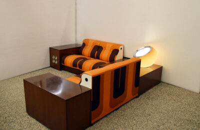 Spage Age living room modular with record player, bar and lamp, 1970s