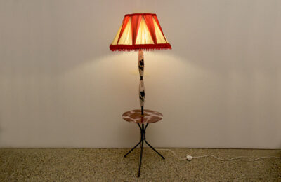 Ceramic floor lamp with table and original 1950s lampshade